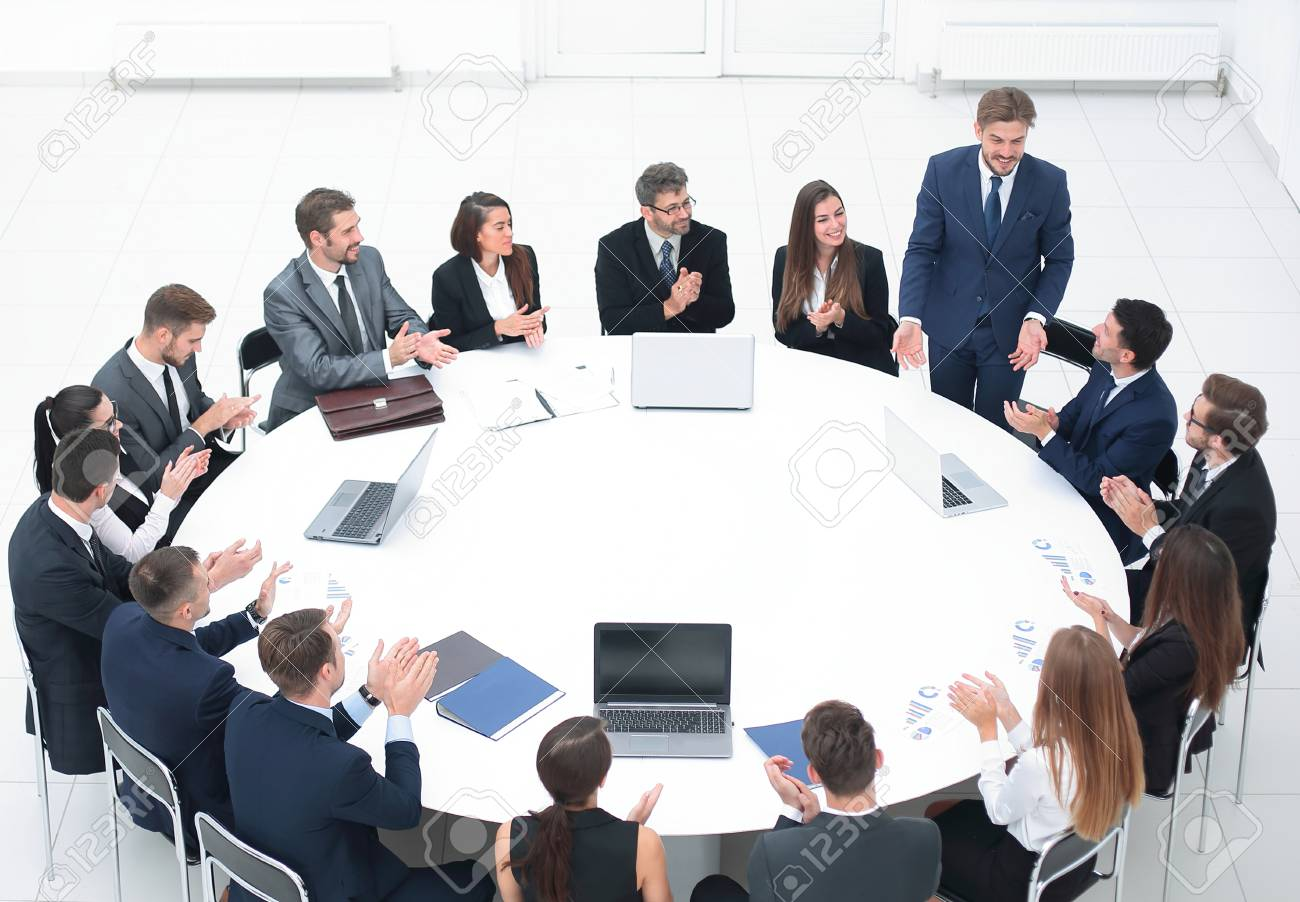 business people applauding speaker at a business meeting. - 95139937