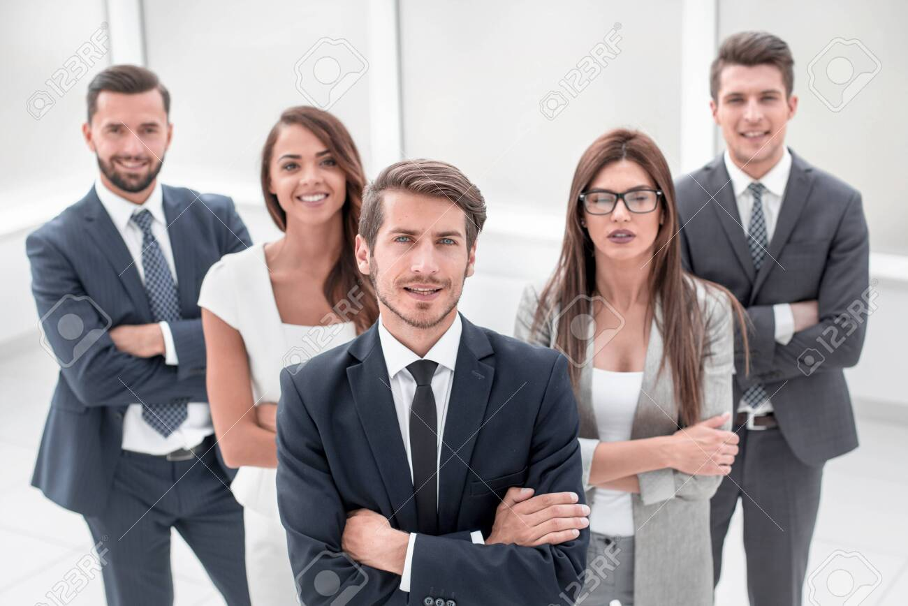 group of successful young people smile - 129195608