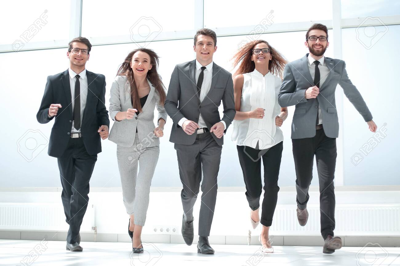 in full growth.a group of business people walking together. - 130468538