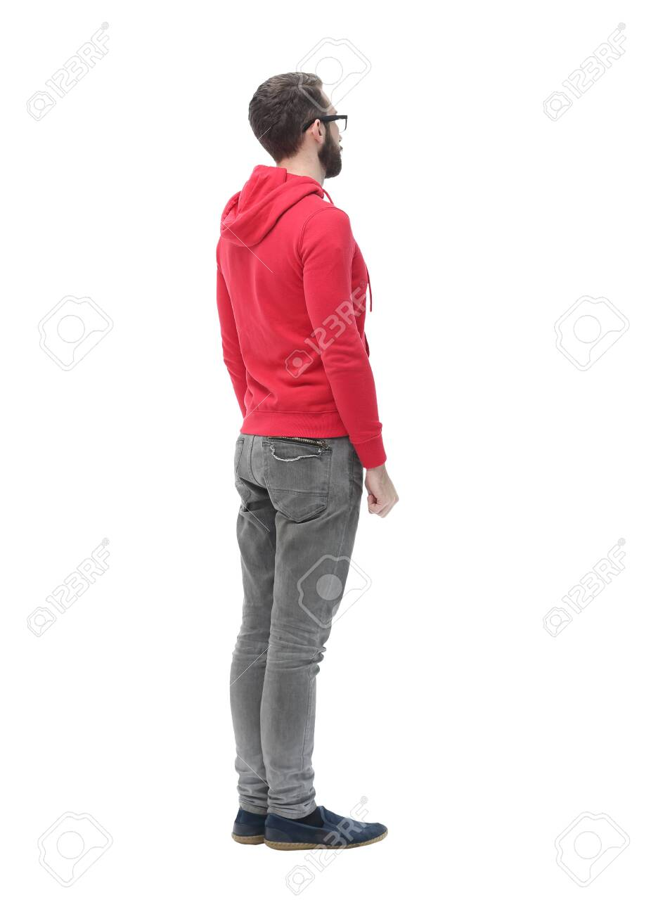 rear view. modern trendy guy looking for a copy space - 131476193