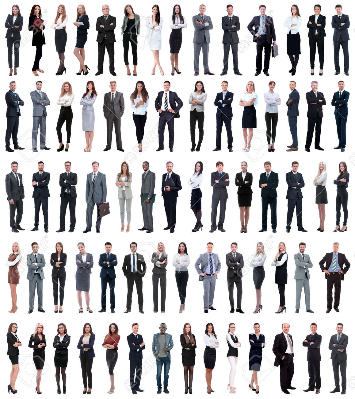 collage of young business people standing in a row. isolated on white background . - 136821835