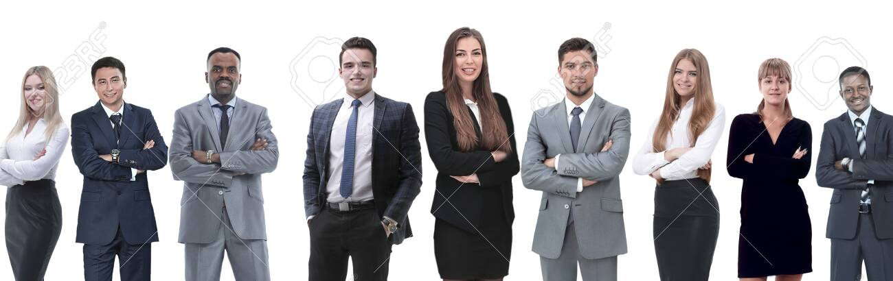 in full growth.professional business team isolated on white background. - 136935572