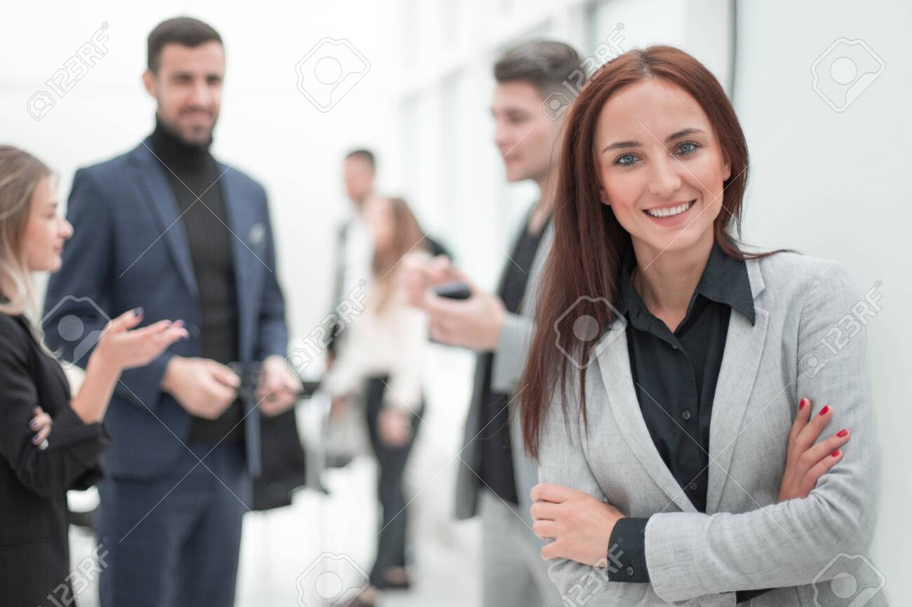 young business woman standing in modern office. - 143773748