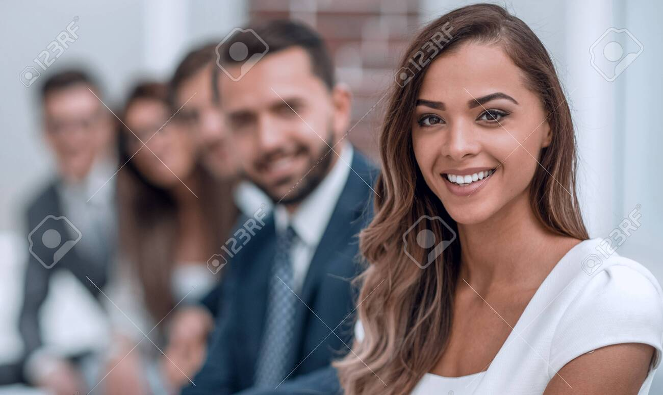young business woman on the background of the office - 144222796