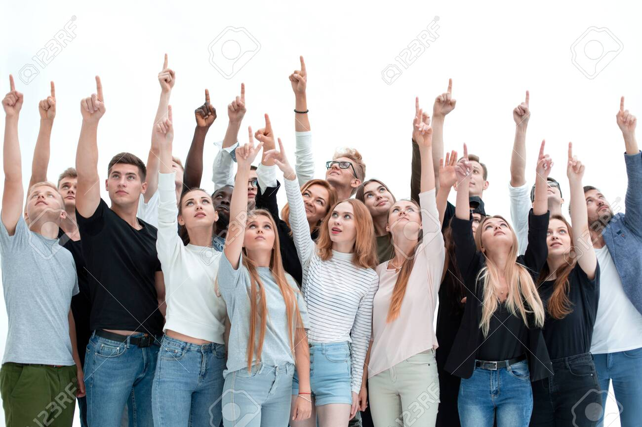 group of serious young people where pointing up - 150770339