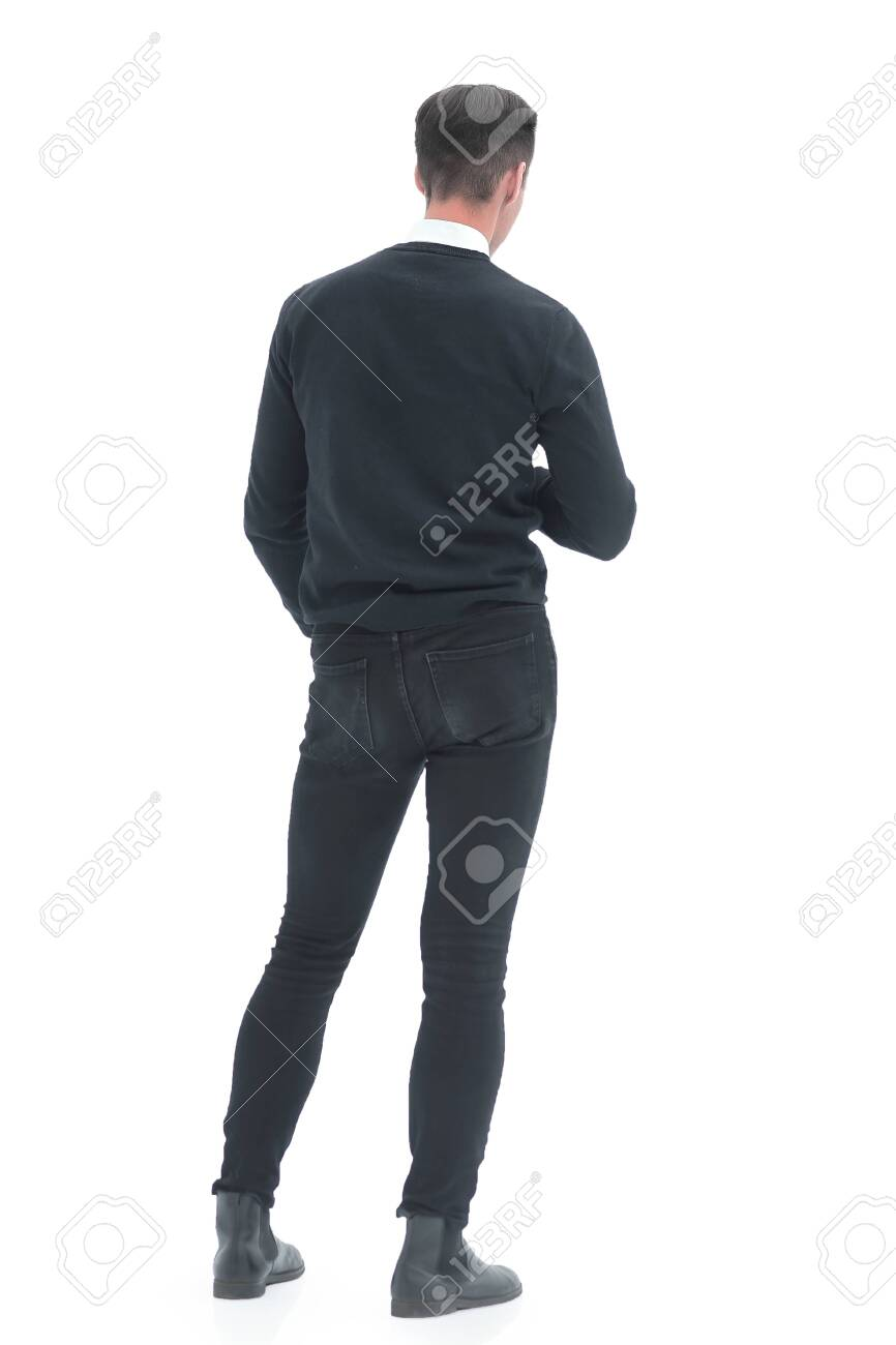 rear view. young man standing in front of a white screen - 147655486