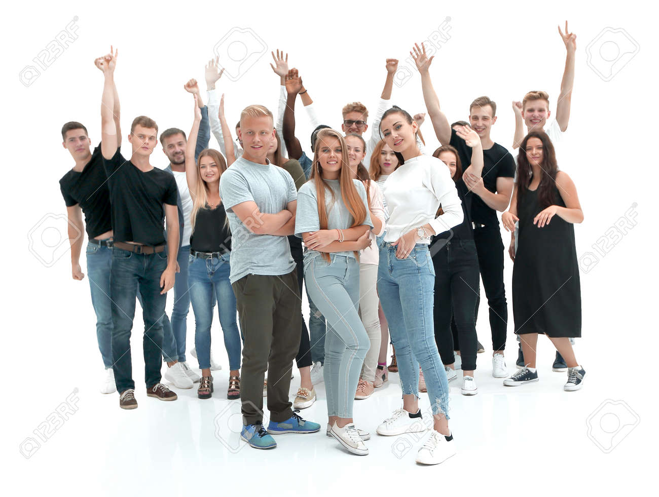 in full growth. casual group of happy young people - 158548438