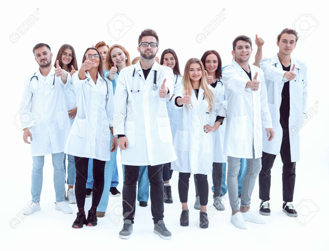 large group of diverse doctors giving a thumbs up - 165815610
