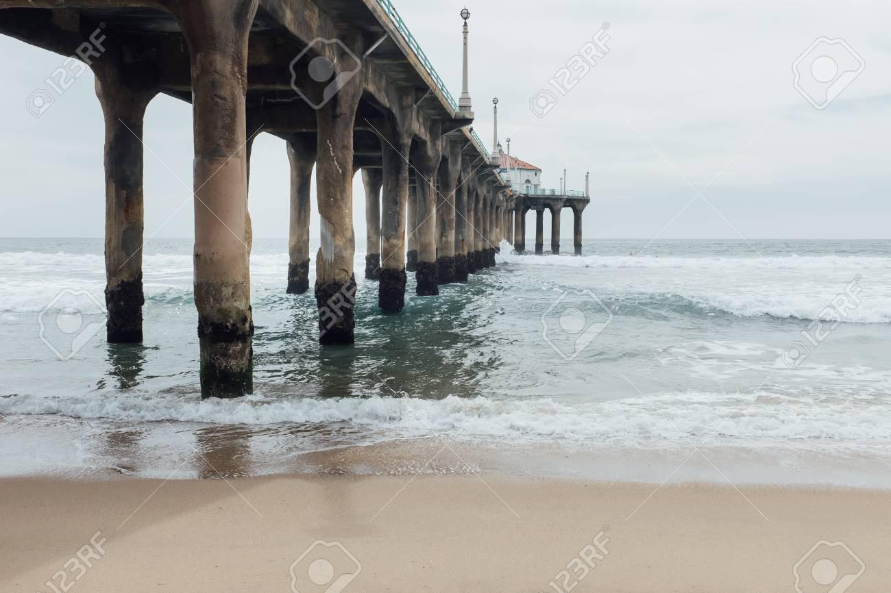 Summer Manhattan Beach Pier In Los Angeles Ca Usa Stock Photo