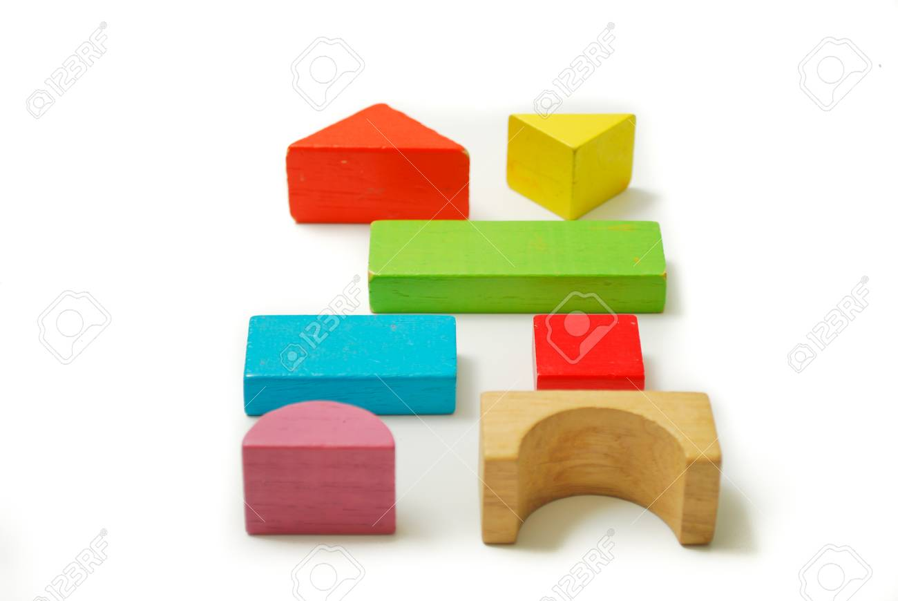 Toys blocks, multicolor wooden bricks, children colorful building