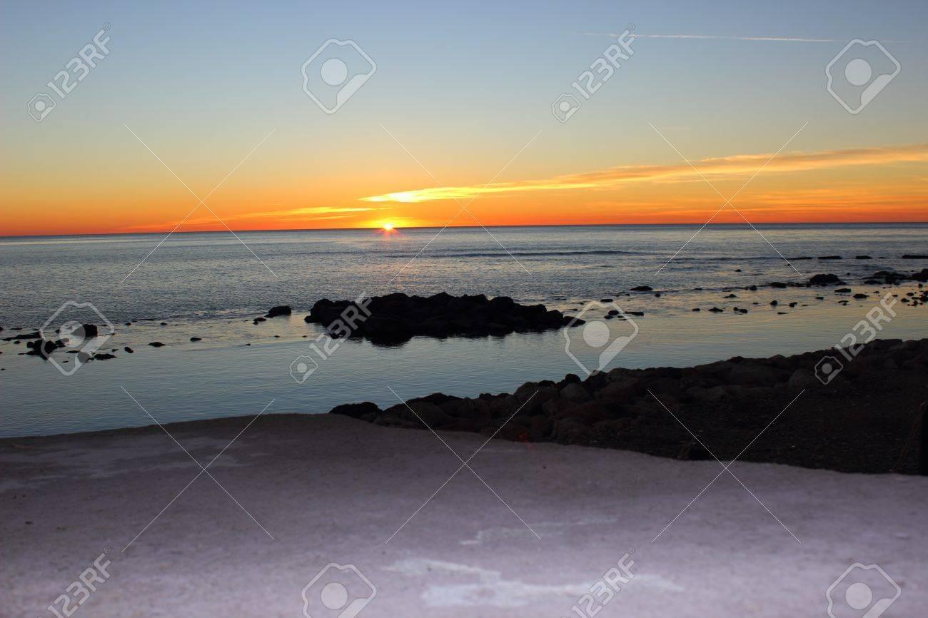 A Platform On Santa Severa Beach At Sunset North Of Rome Italy