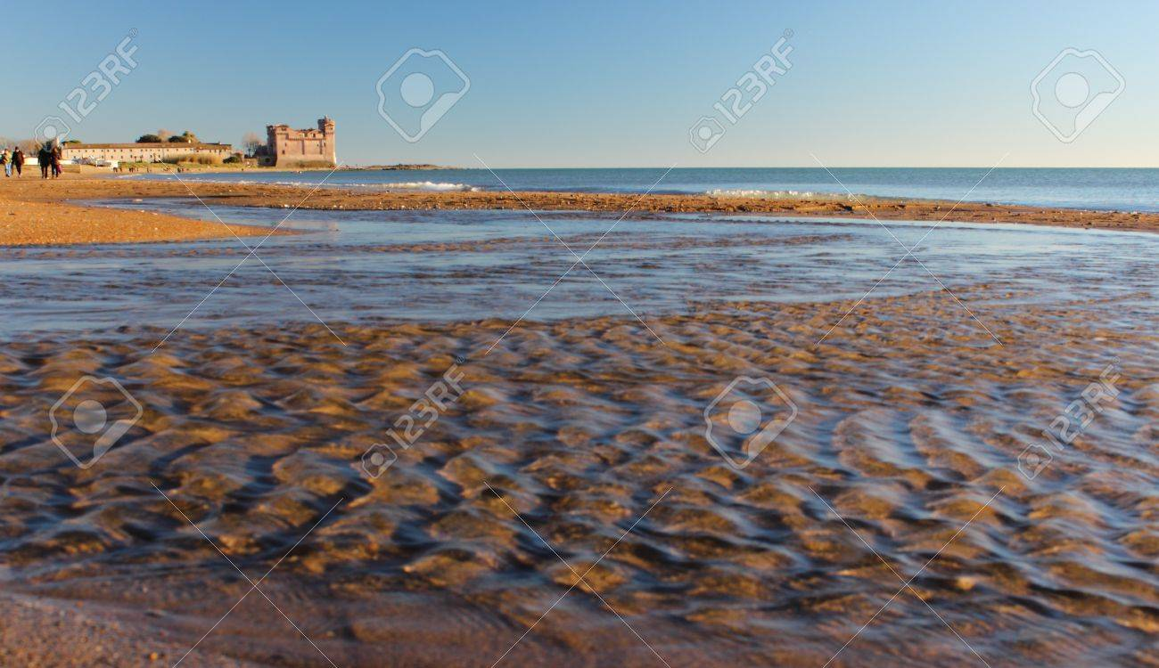 A View Of Beach And Castle Of Santa Severa North Of Rome Italy