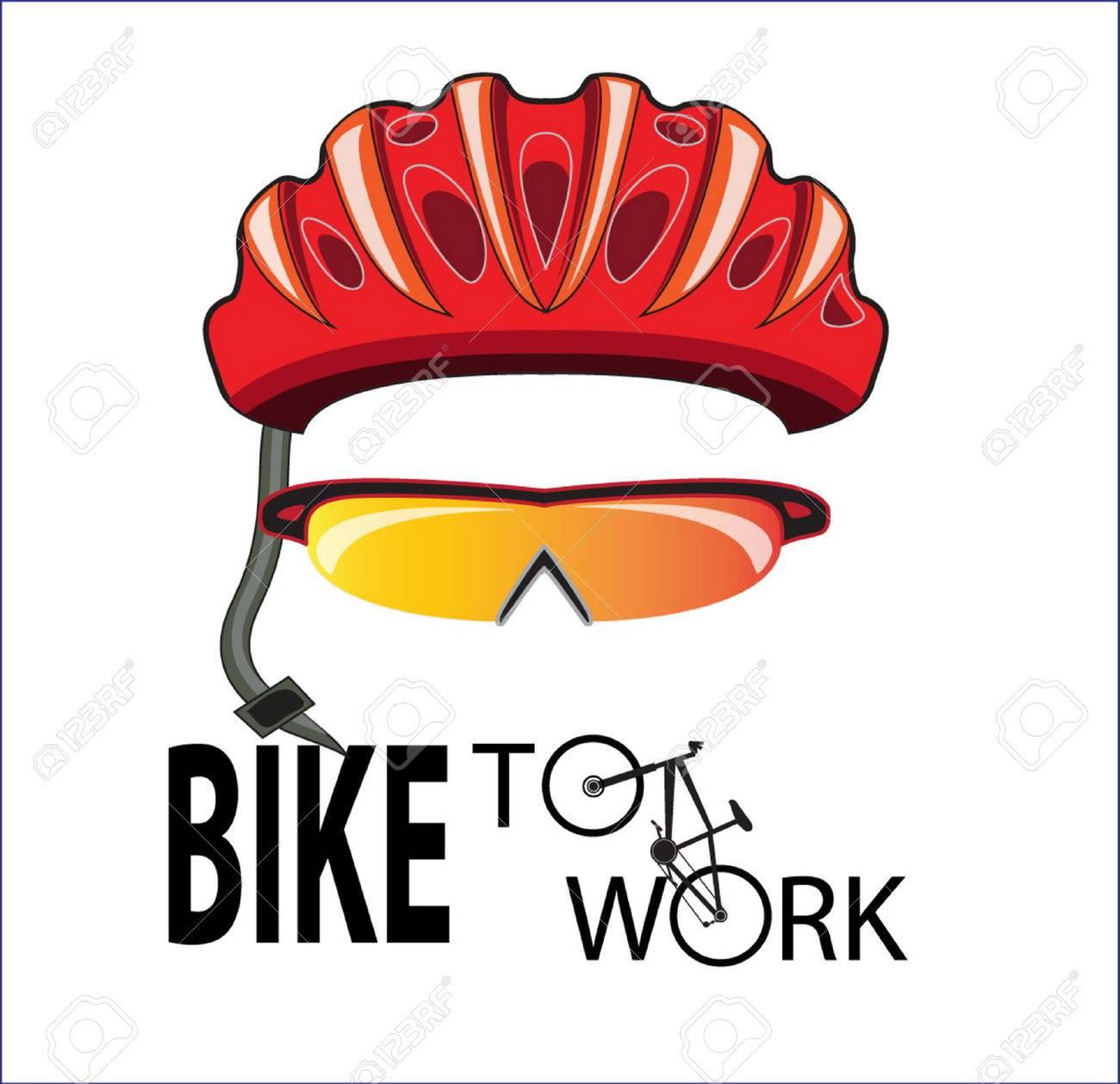 bicycle helmet and sun glasses bike to work - 35027090