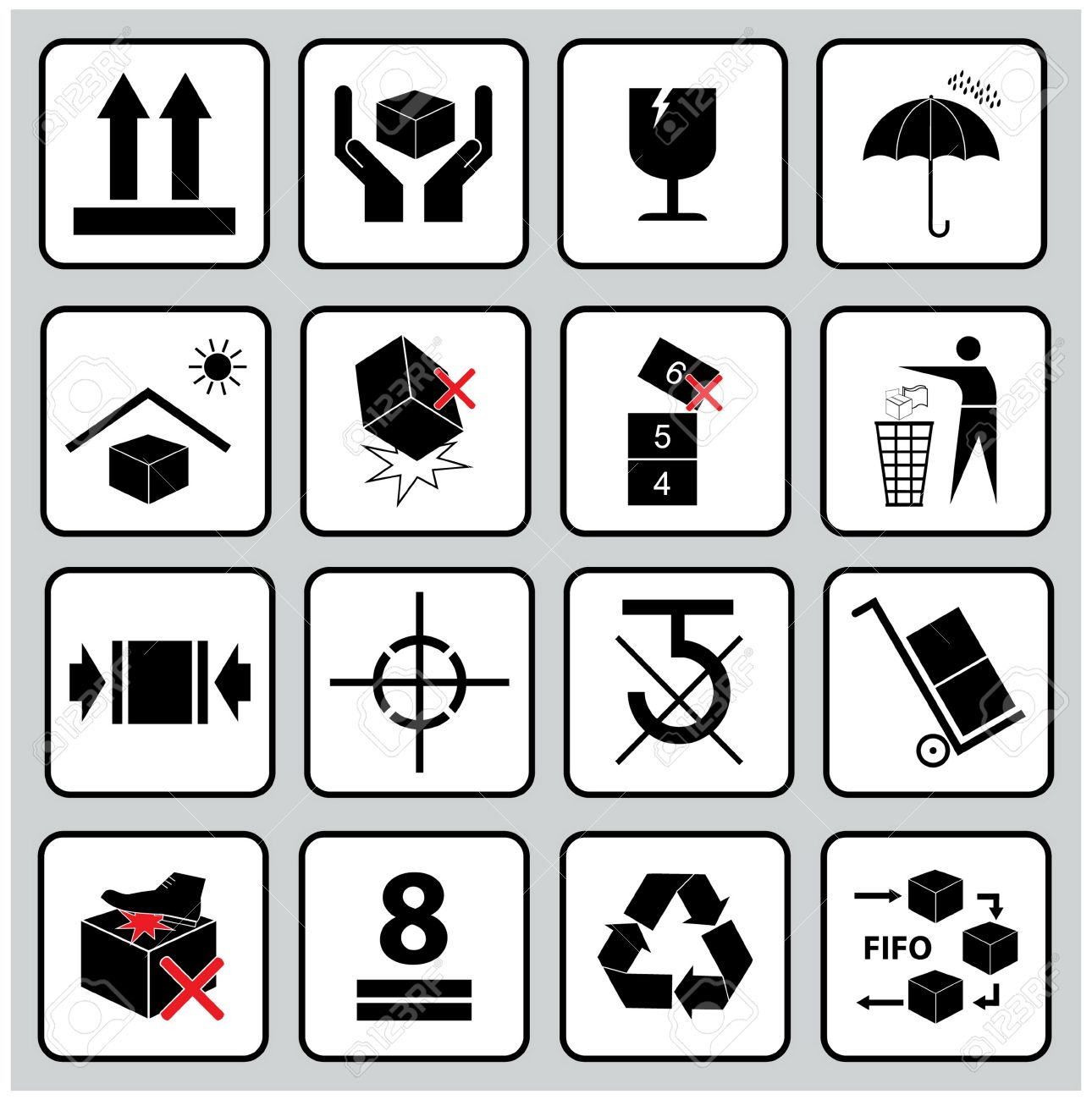 Set Of Packaging Symbols (this side up, handle with care, fragile, keep dry, keep away from direct sunlight, do not drop, do not litter, use only the trolley, use fifo system, max carton, recyclable). - 36129081
