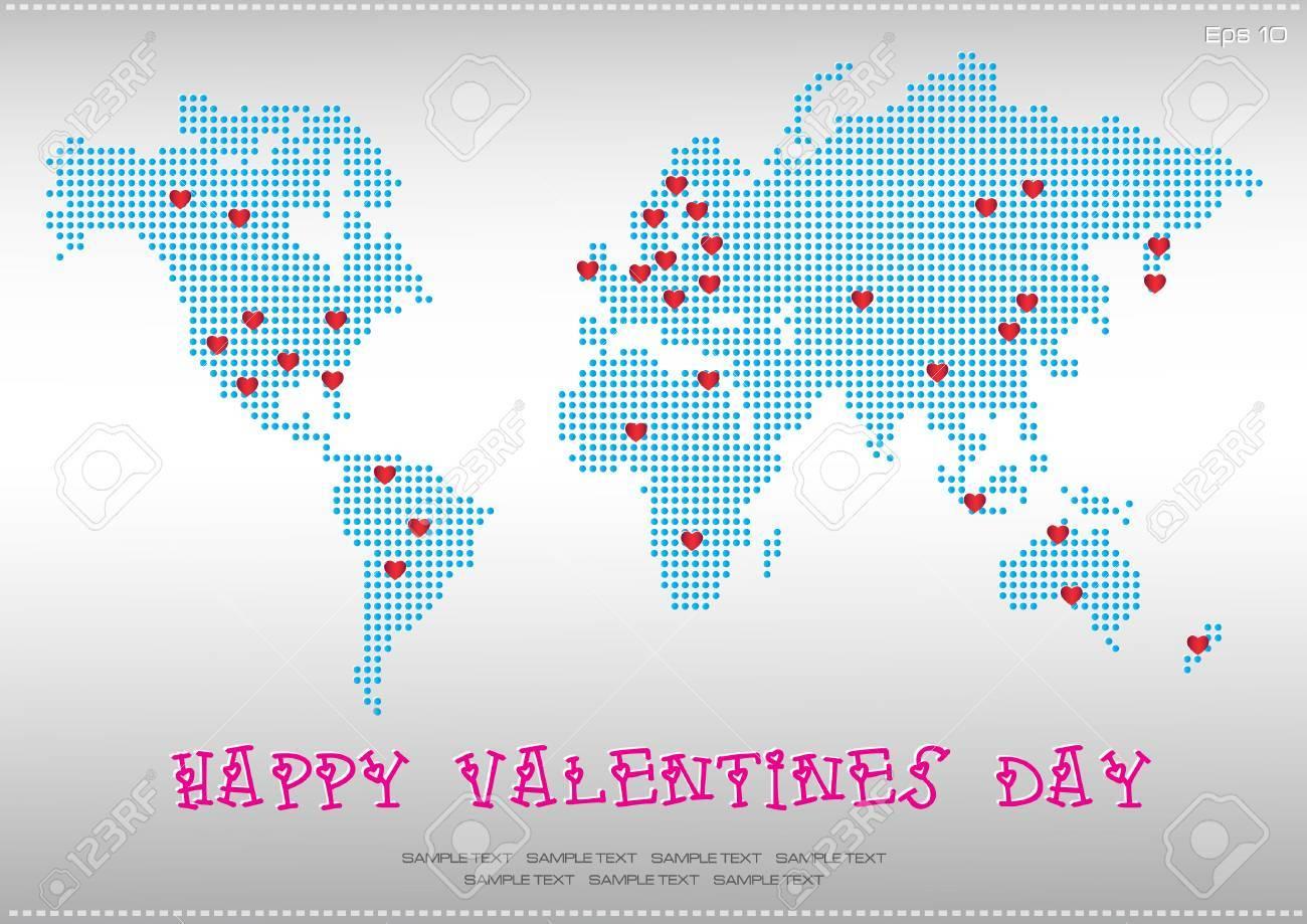 世界地図バレンタイン イラスト簡単に変更するにはのイラスト素材