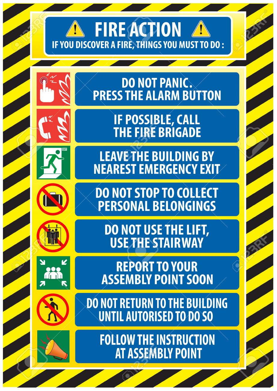 Fire action emergency procedure (do not panic, call fire brigade, leave by nearest emergency exit, report to assembly point) illustration, easy to modify - 36129715