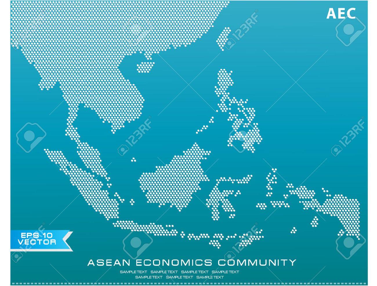 asean マップ点線スタイルのイラスト、背景 (aec、afta、asean