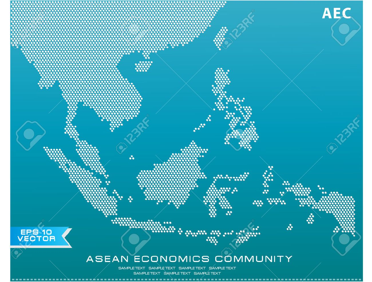 Asean Map dotted style illustration, for background (AEC, AFTA, ASEAN), easy to modify - 36129991