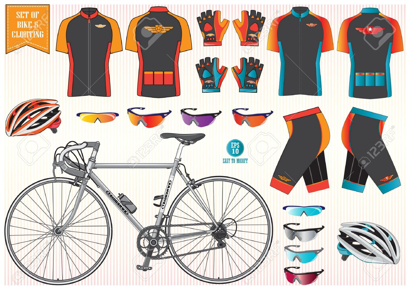 Bike or Bicycle clothing and equipment bike helmet clothing sun glass illustration easy to modify - 40222322