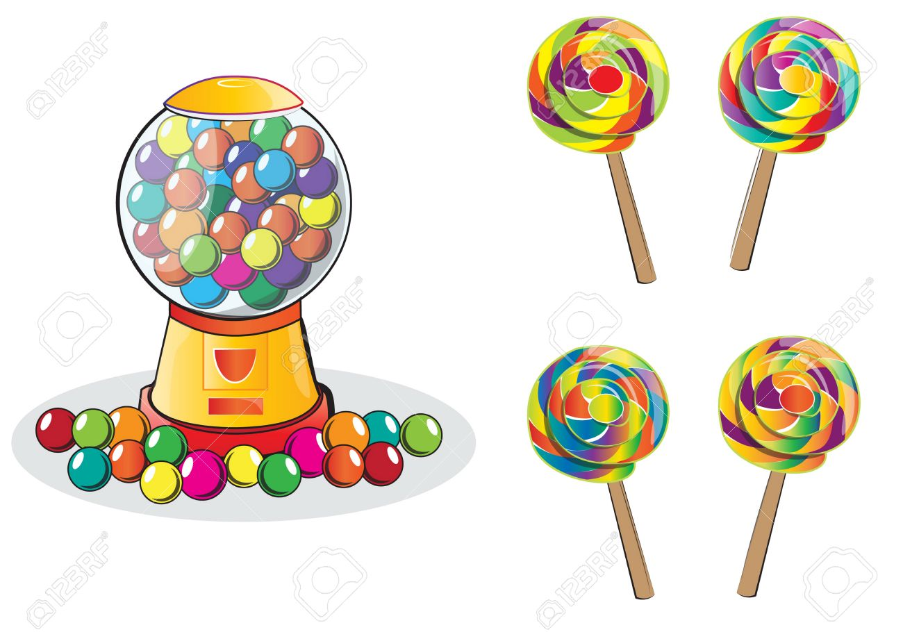 gumball machine and lollipop isolated doodle style royalty free