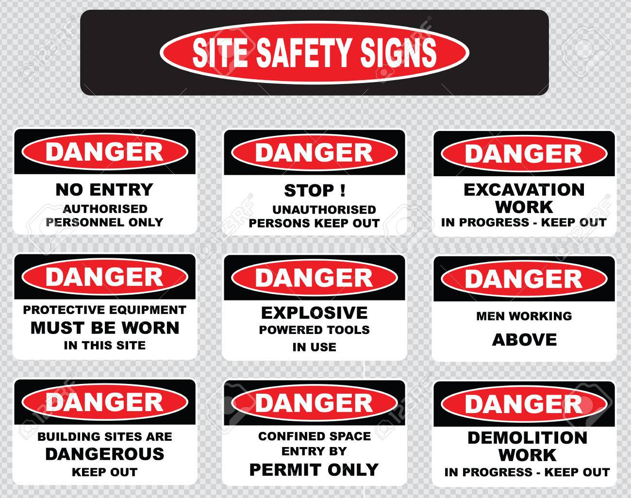 Various Danger Sign Site Safety Signs No Entry Authorized Personnel Royalty Free Cliparts Vectors And Stock Illustration Image 43225302