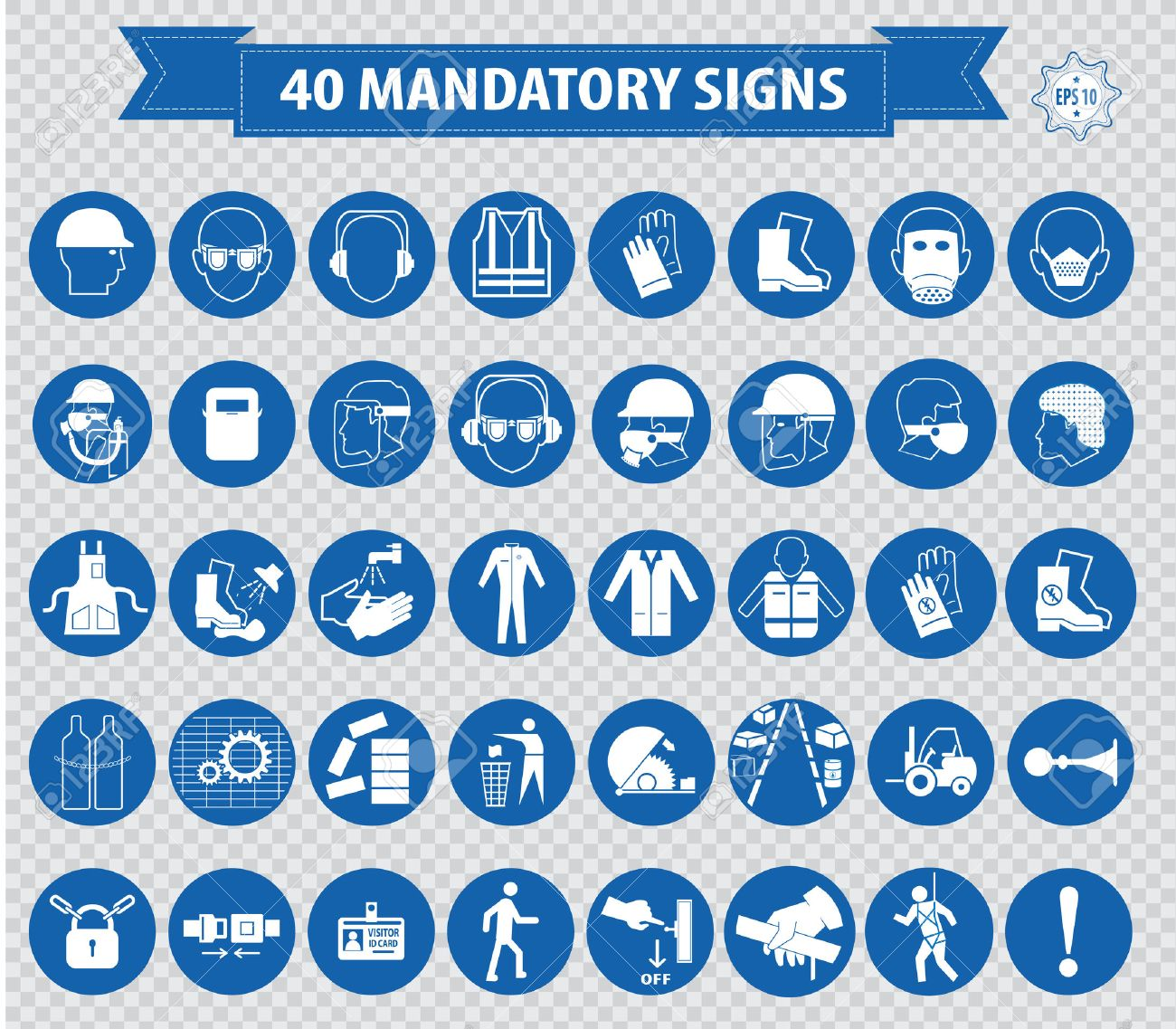 mandatory signs construction health safety sign used in industrial applications safety helmet gloves ear protection eye protection foot protection hairnet respirator mask antistatic apron - 40812079