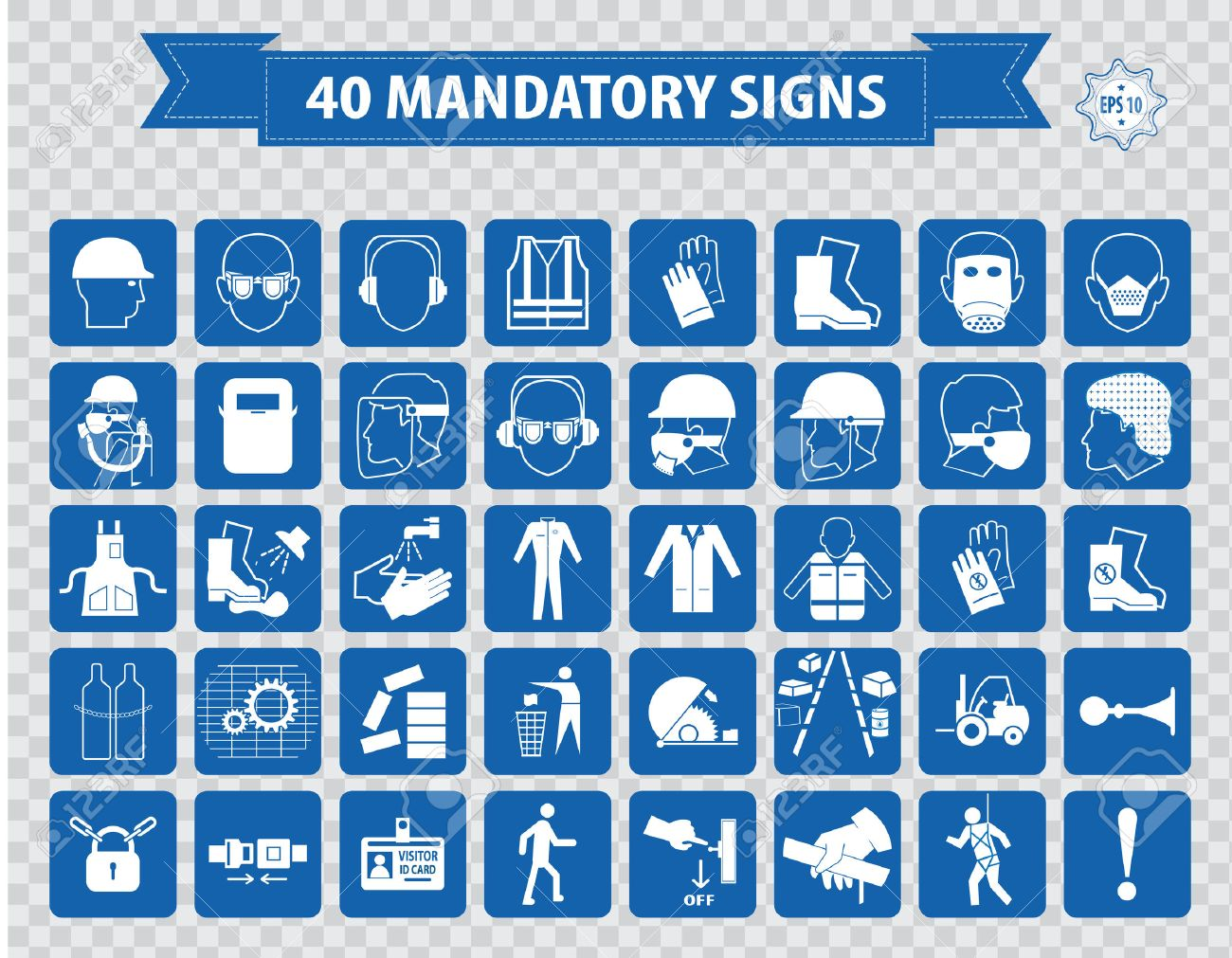 Construction Site Mandatory Signs face shield hard hat must be worn high visibility vest safety goggles pedestrian walkway gloves boots all accidents must report bind intersection sound horn - 40815223
