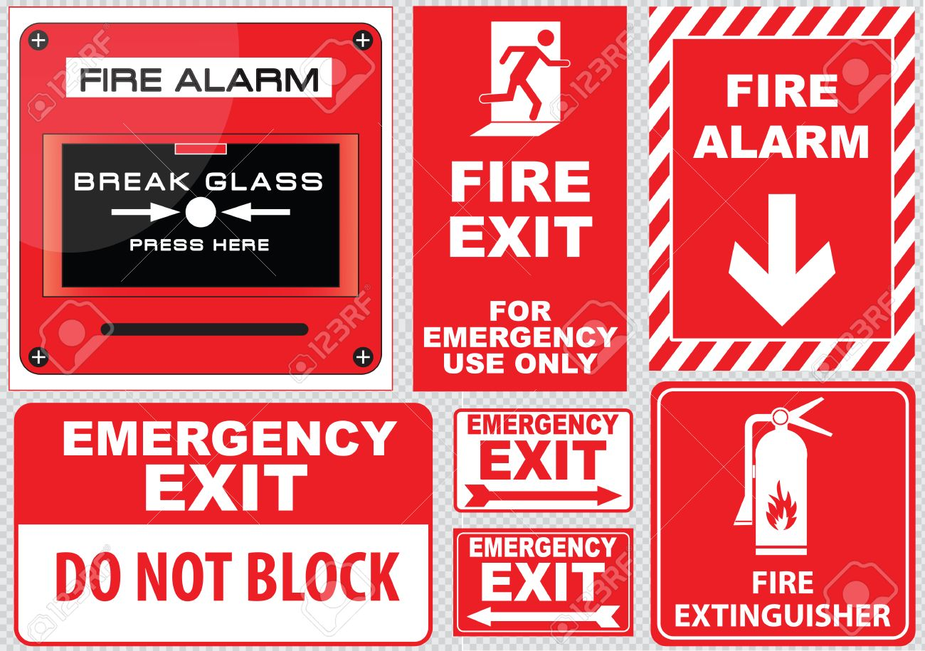 Set Of Fire Alarm Fire Exit Emergency Exit Only Keep Area Clear ...