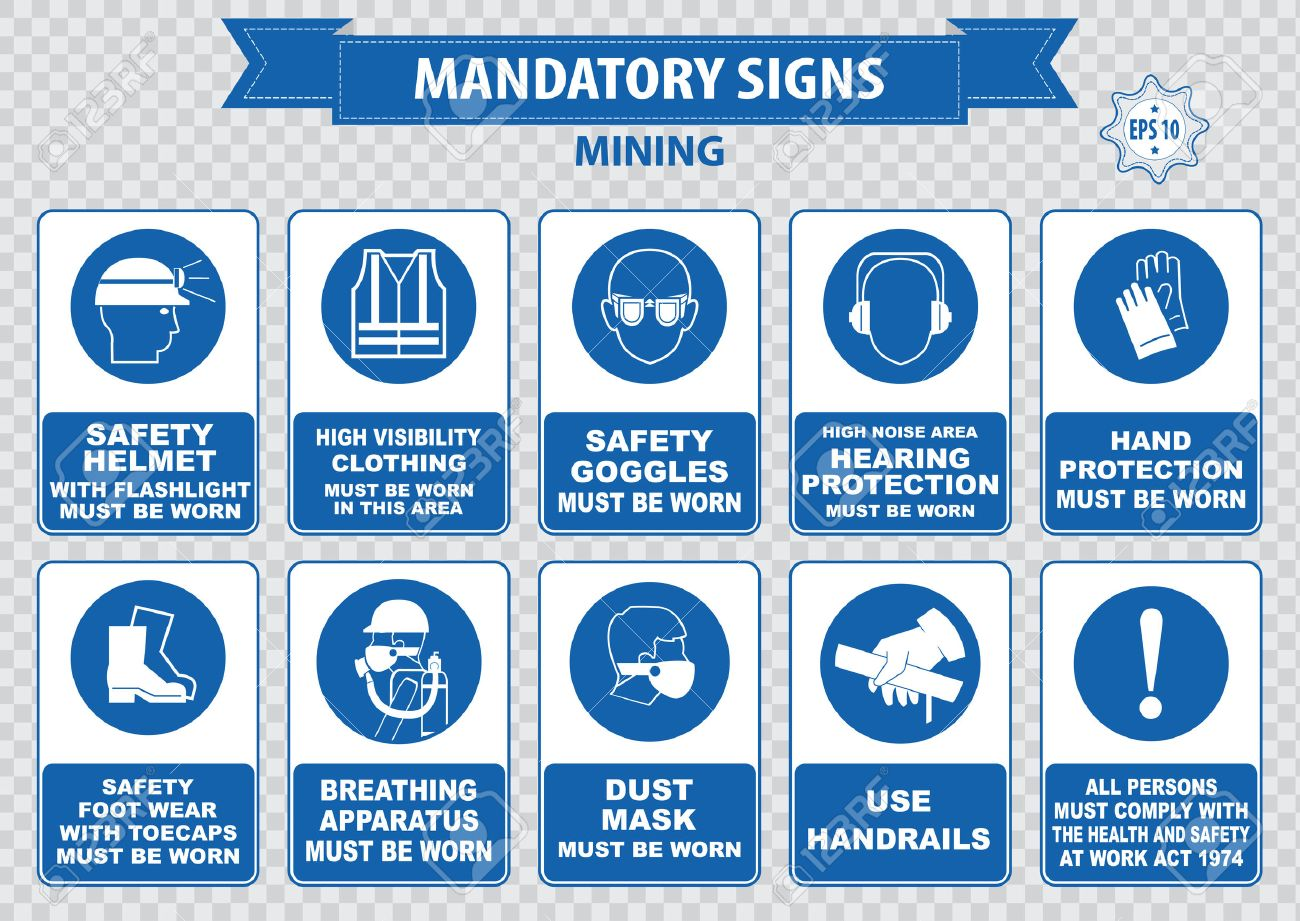 Mining mandatory sign safety helmet with flashlight must be worn use handrails dust mask breathing apparatus goggles hearing protection fasten seat belts sound horn - 40613148