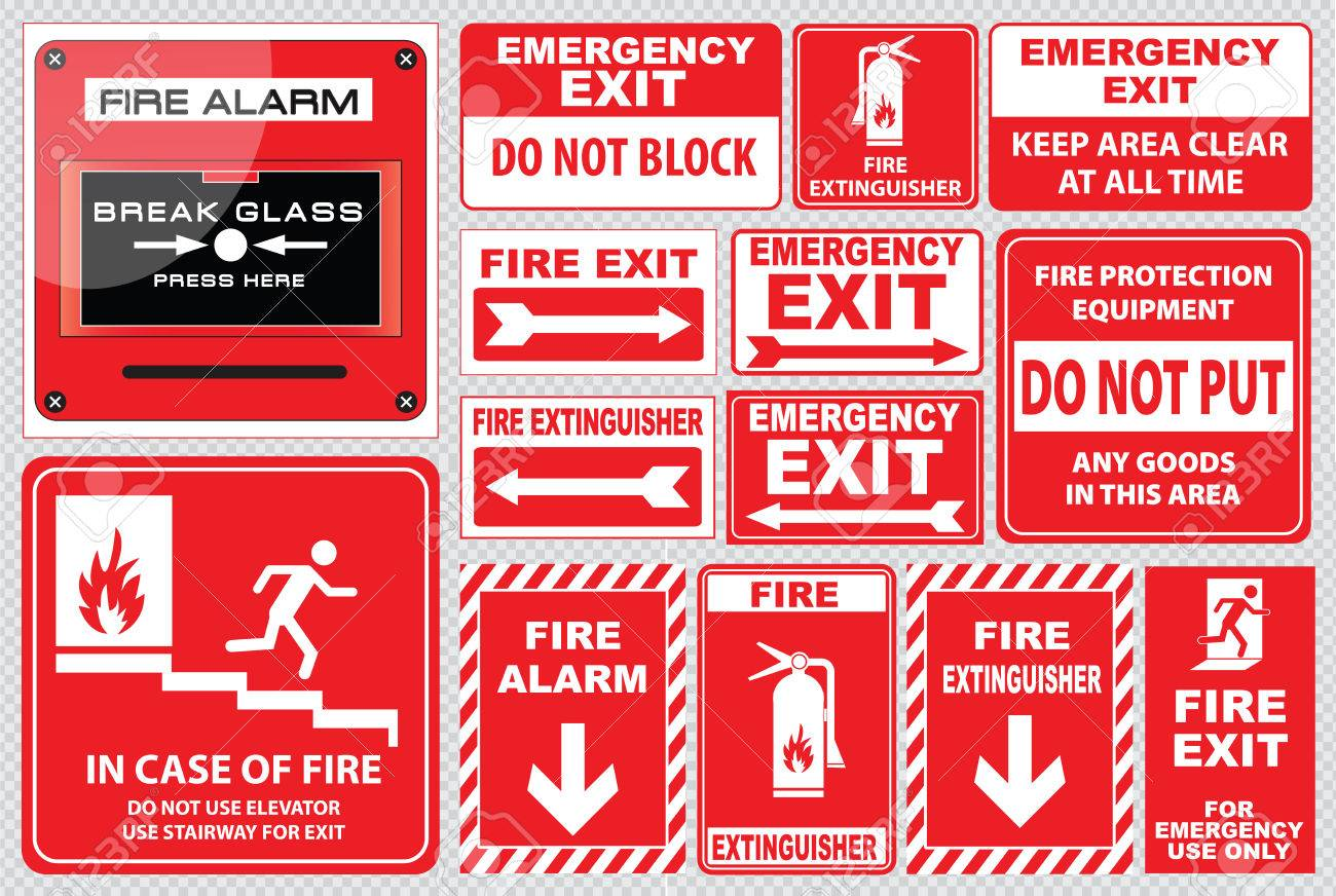Set of Fire Alarm fire alarm, break glass, press here, fire exit, for emergency use only, emergency exit, do not block, fire extinguisher, easy to modify - 44162320