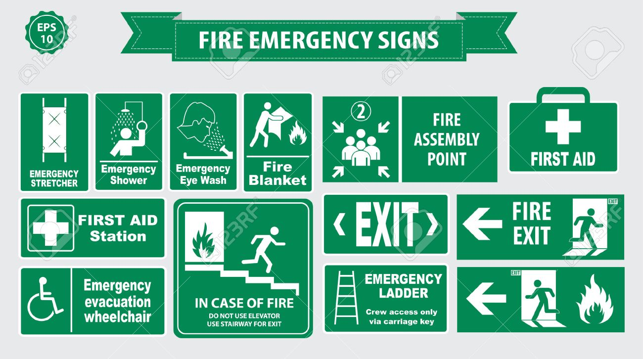 Set of emergency exit Sign fire exit, emergency exit, fire assembly point, evacuation lane, Fire Extinguisher, For Emergency use only, no re-entry to building. - 52550842