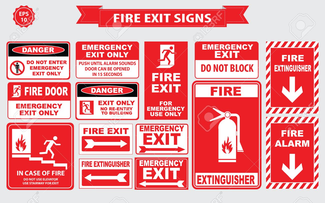 fire emergency signs emergency shut off break glass alarm sound