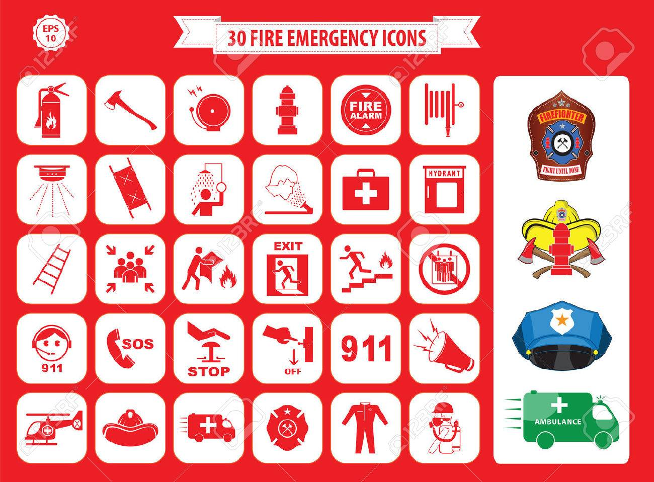 Set of fire emergency icons fire exit, emergency exit, fire assembly point, ladder, axe, fire extinguisher, hose reel, alarm, eye wash, fire exit, 911, hydrant, first aid, ambulance, badge - 52550864