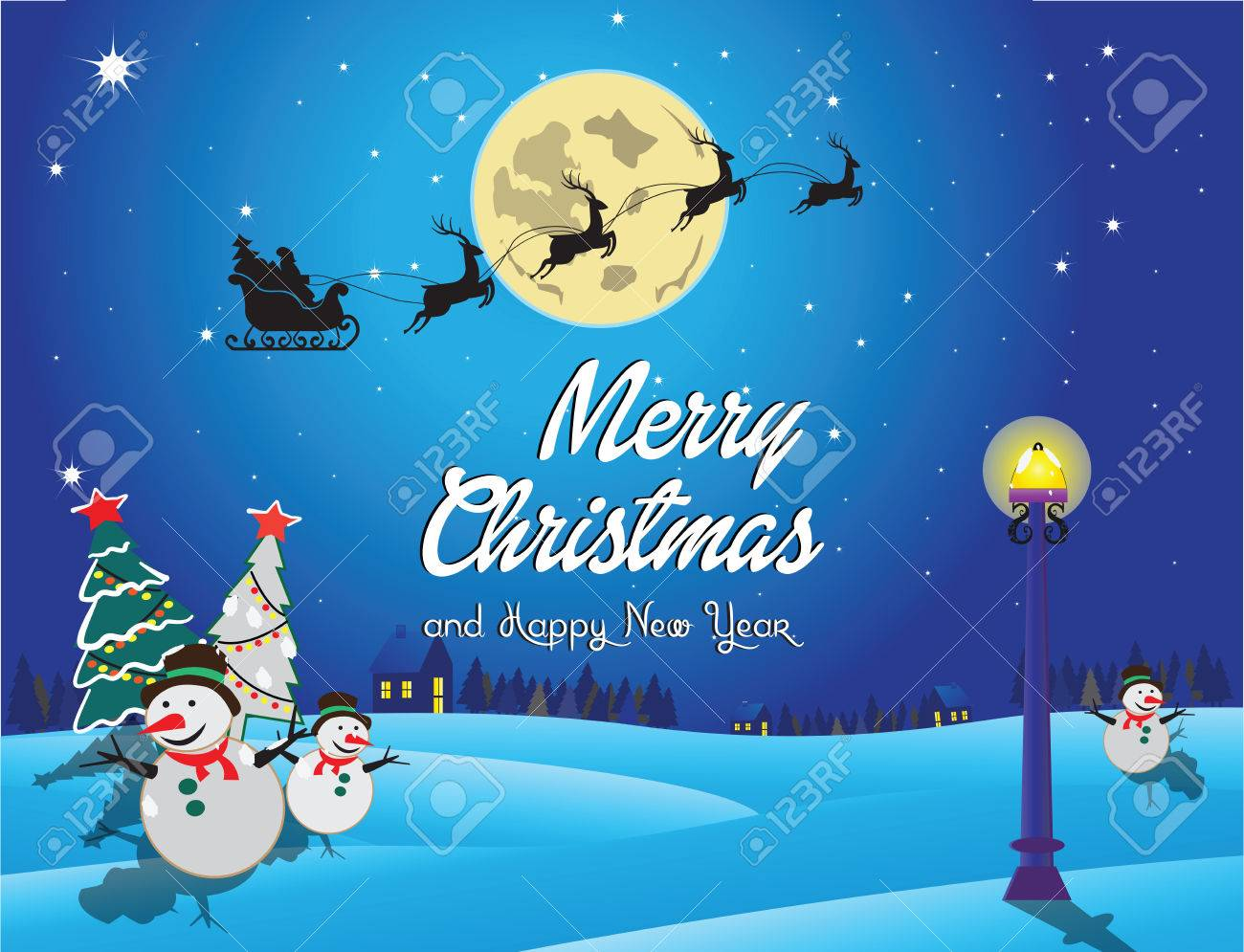 merry christmas and happy new year background suitable for printing postcard poster