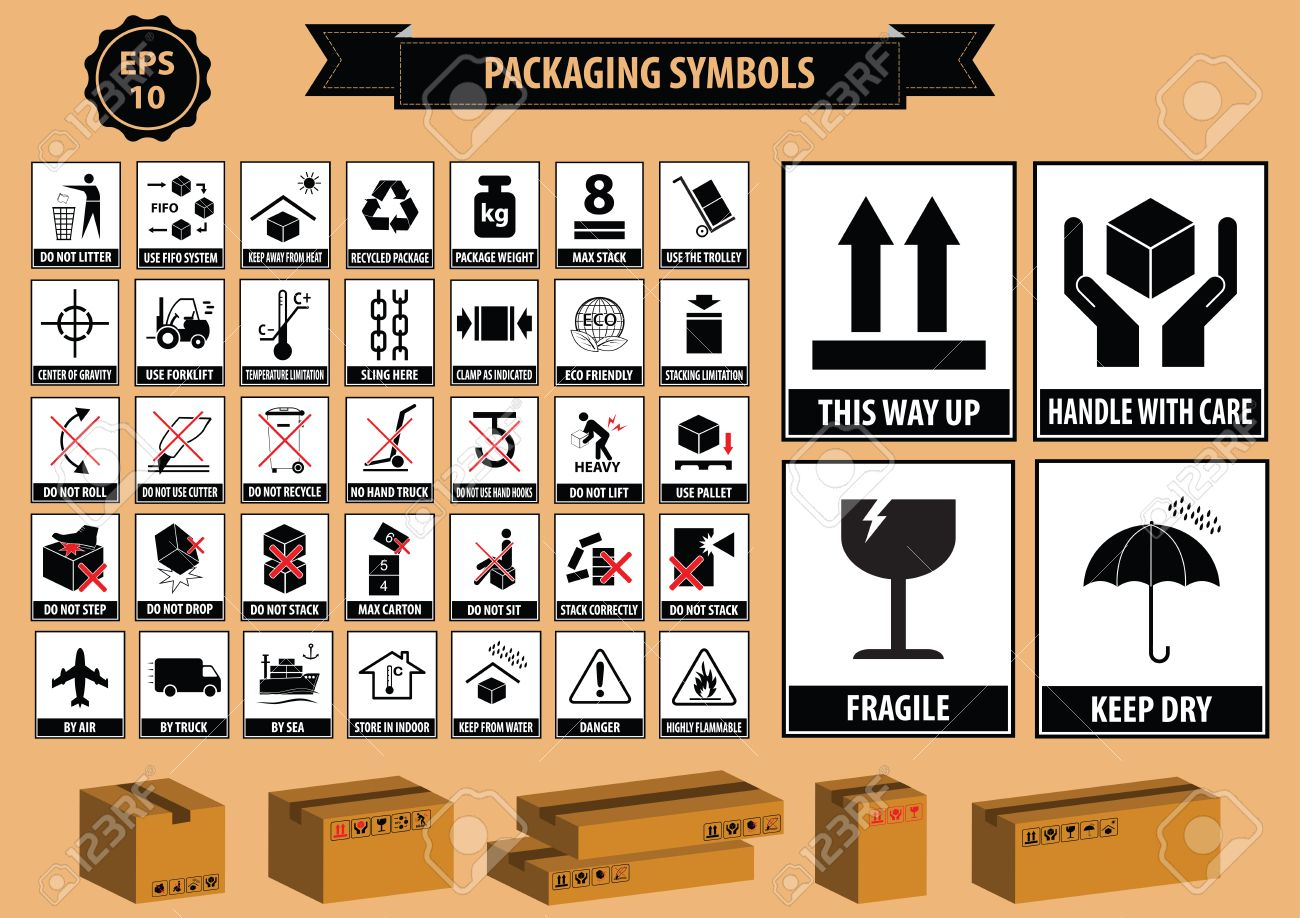 Set of packaging symbols this side up handle with care fragile set of packaging symbols this side up handle with care fragile keep dry buycottarizona