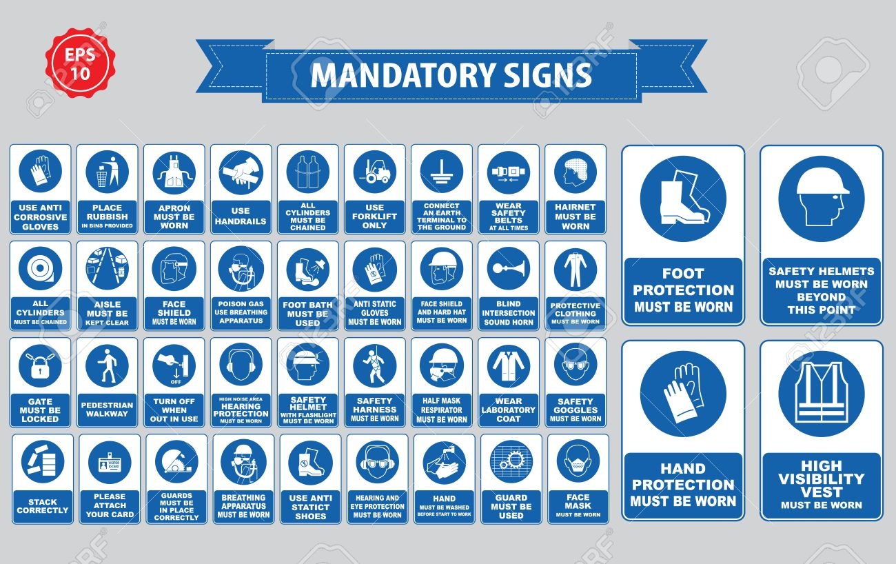 mandatory signs, construction health, safety sign used in industrial applications safety helmet, gloves, ear protection, eye protection, foot protection, hairnet, respirator, mask, antistatic, apron - 52492019