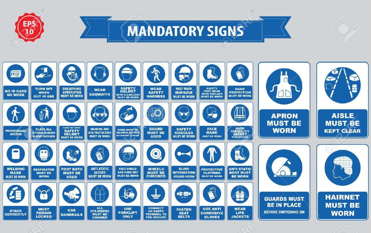 mandatory signs, construction health, safety sign used in industrial applications safety helmet, gloves, ear protection, eye protection, foot protection, hairnet, respirator, mask, antistatic, apron - 52550958