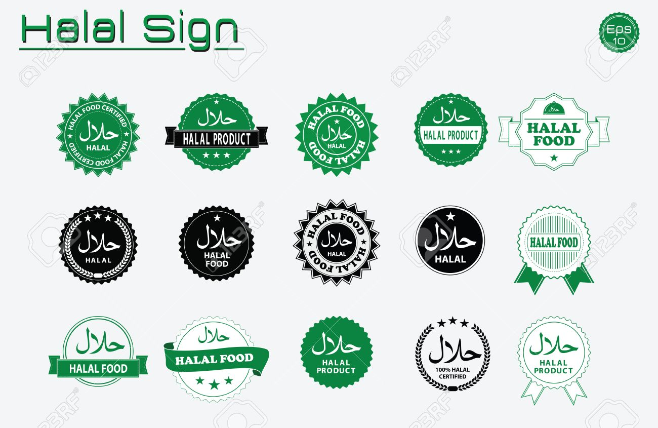 Halal food labels vector set. Badges, logo, tag round, and label design. suitable for banner, flyer, trade mark, and other advertising raw materials. easy to modify - 60900182