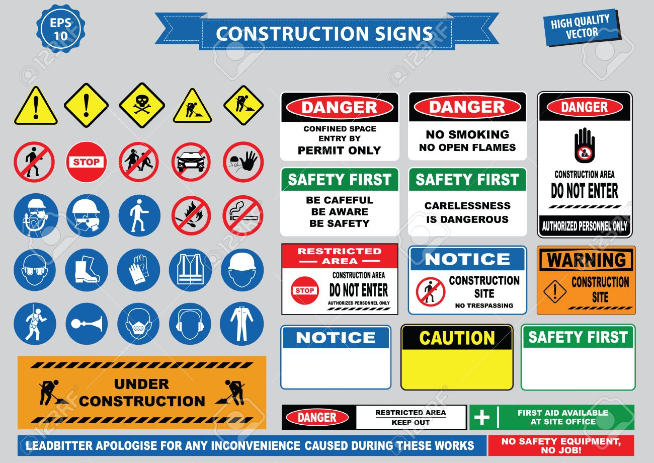 Set of Construction sign (warning, site safety, use hard hat,children must not play on this site, no admittance to unauthorized personnel, safety hard helmet, boots and vest must worn at all times) - 61721944