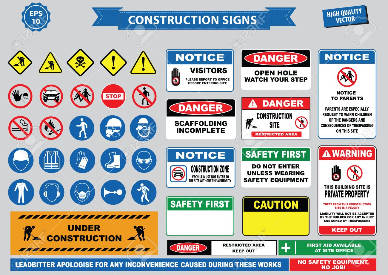 Set of Construction sign (warning, site safety, use hard hat,children must not play on this site, no admittance to unauthorized personnel, safety helmet, boots and vest must be worn at all times) - 61721942