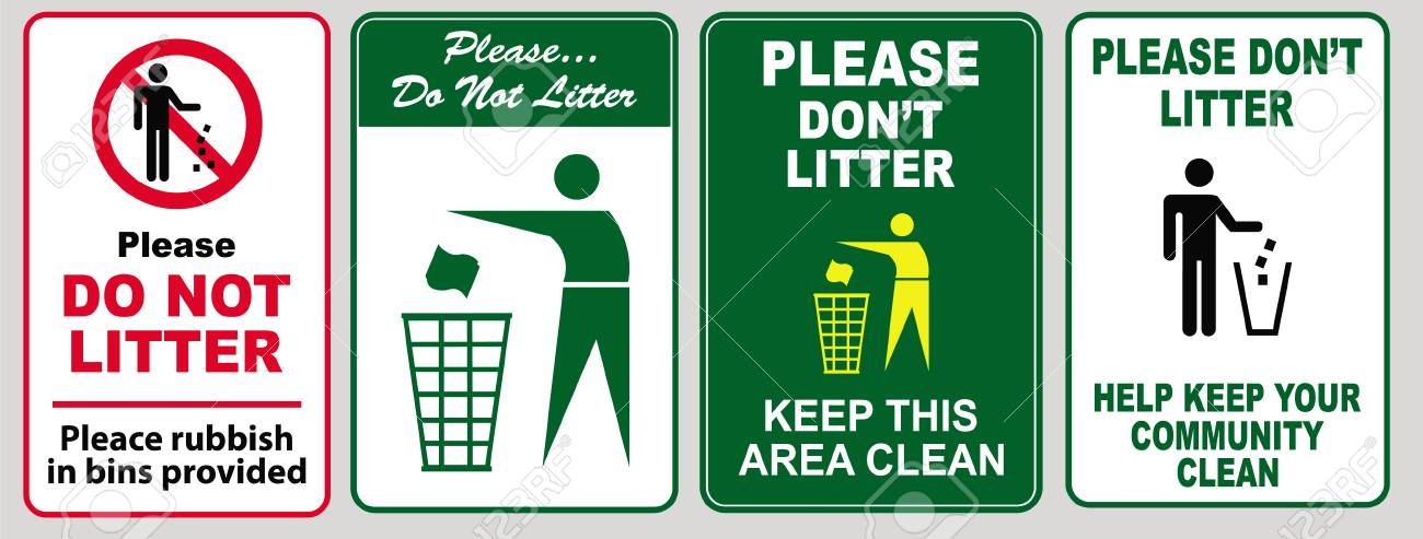 Archivio fotografico clean sticker sign for office please do not throw rubbish do not litter help keep your community clean pitch in home away from