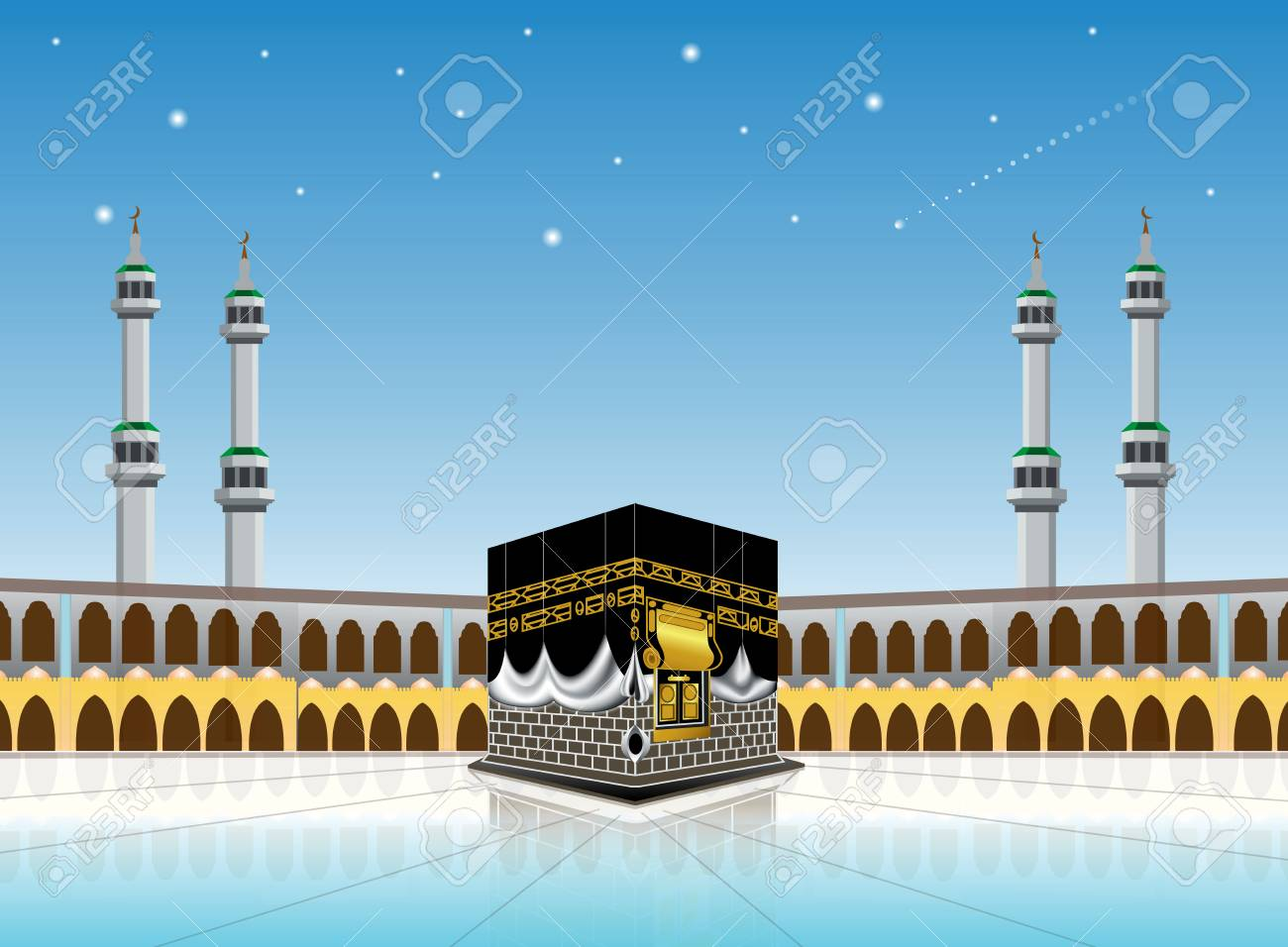 kaaba mosque isolated white. - 102425854