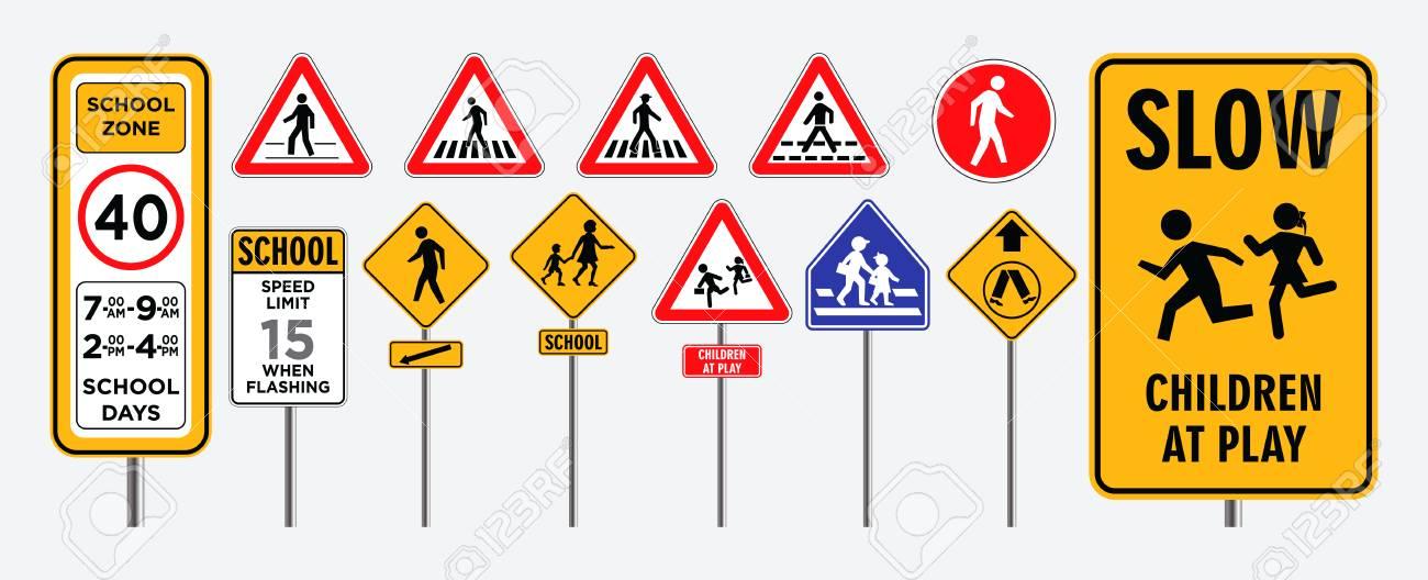 set of school zone street or pedestrian area. - 108033935
