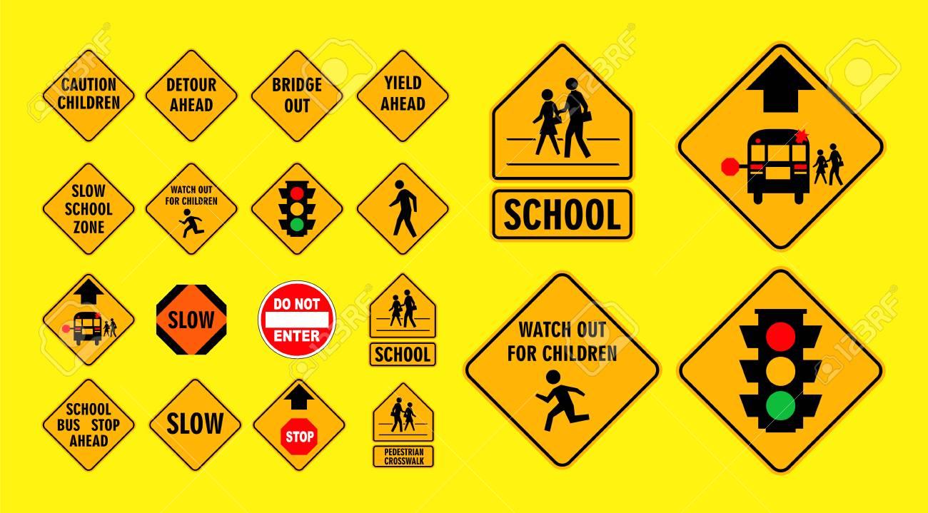 set of cross street school sign.easy to modify - 108033941