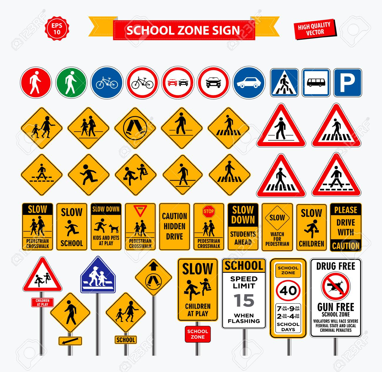 Set of school sign zone, pedestrian, and other street school zone. easy to modify - 114032529