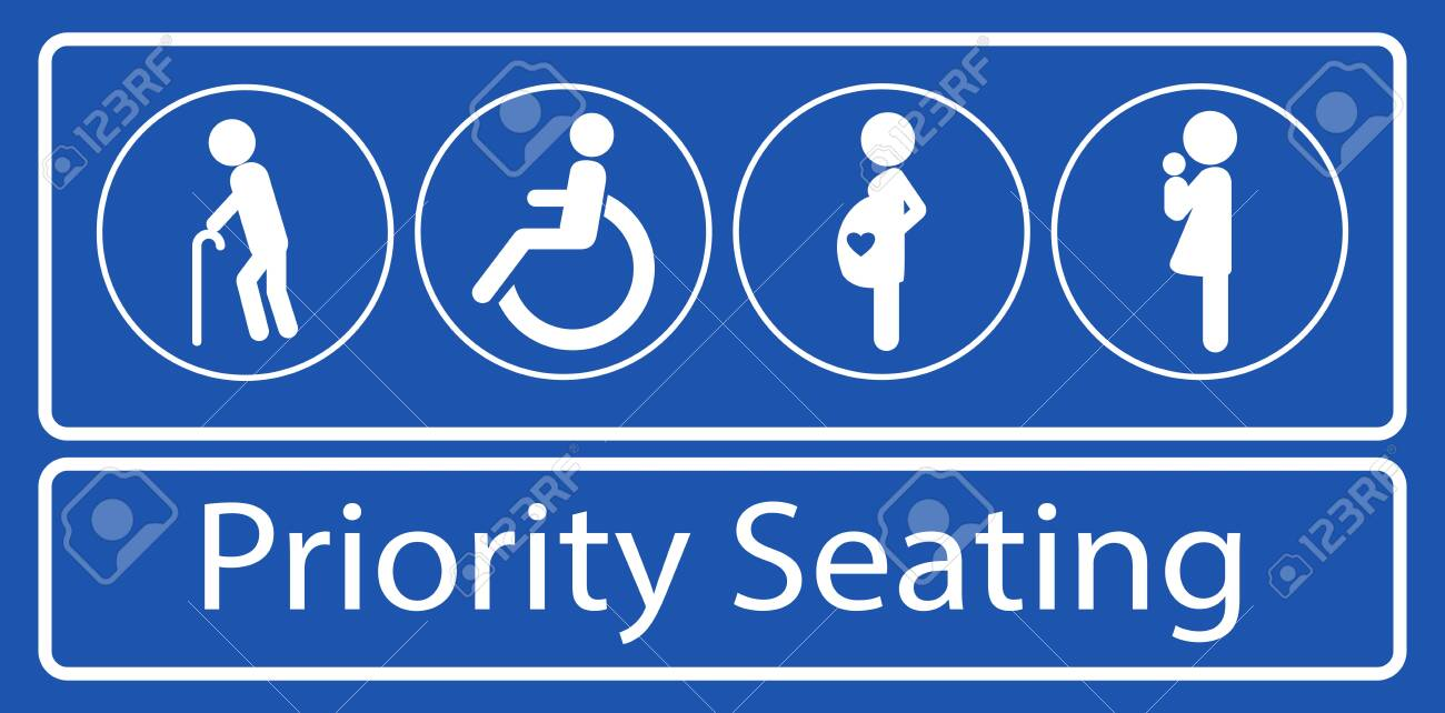 set of priority seating sticker or label, for mass rapid transit or other public transportation. easy to modify - 122018711