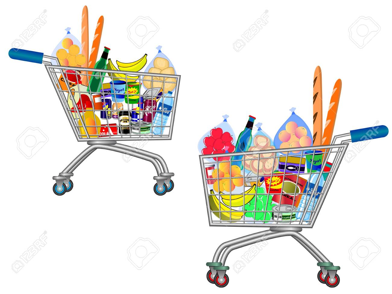 set of isolated Shopping trolley full of food, fruit, products and grocery goods. easy to modify - 123605966