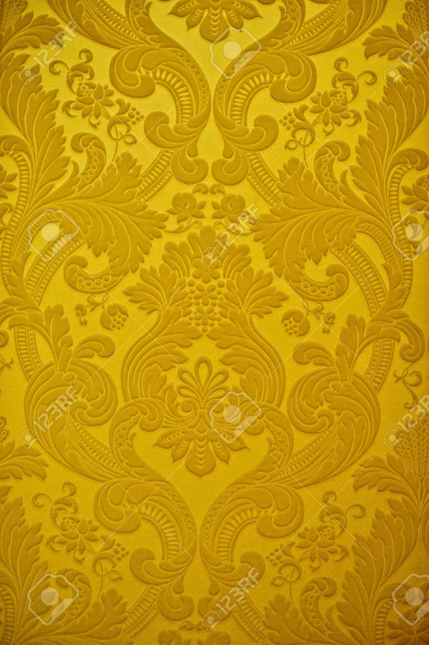 Vintage Golden Wallpaper Wall With Floral Design
