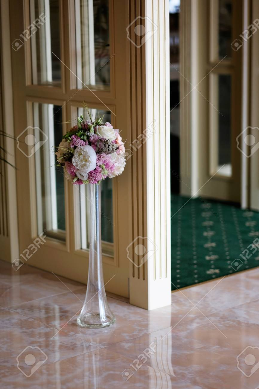 Wedding Reception Entrance Flowers Bouquet In A Glass Vase At