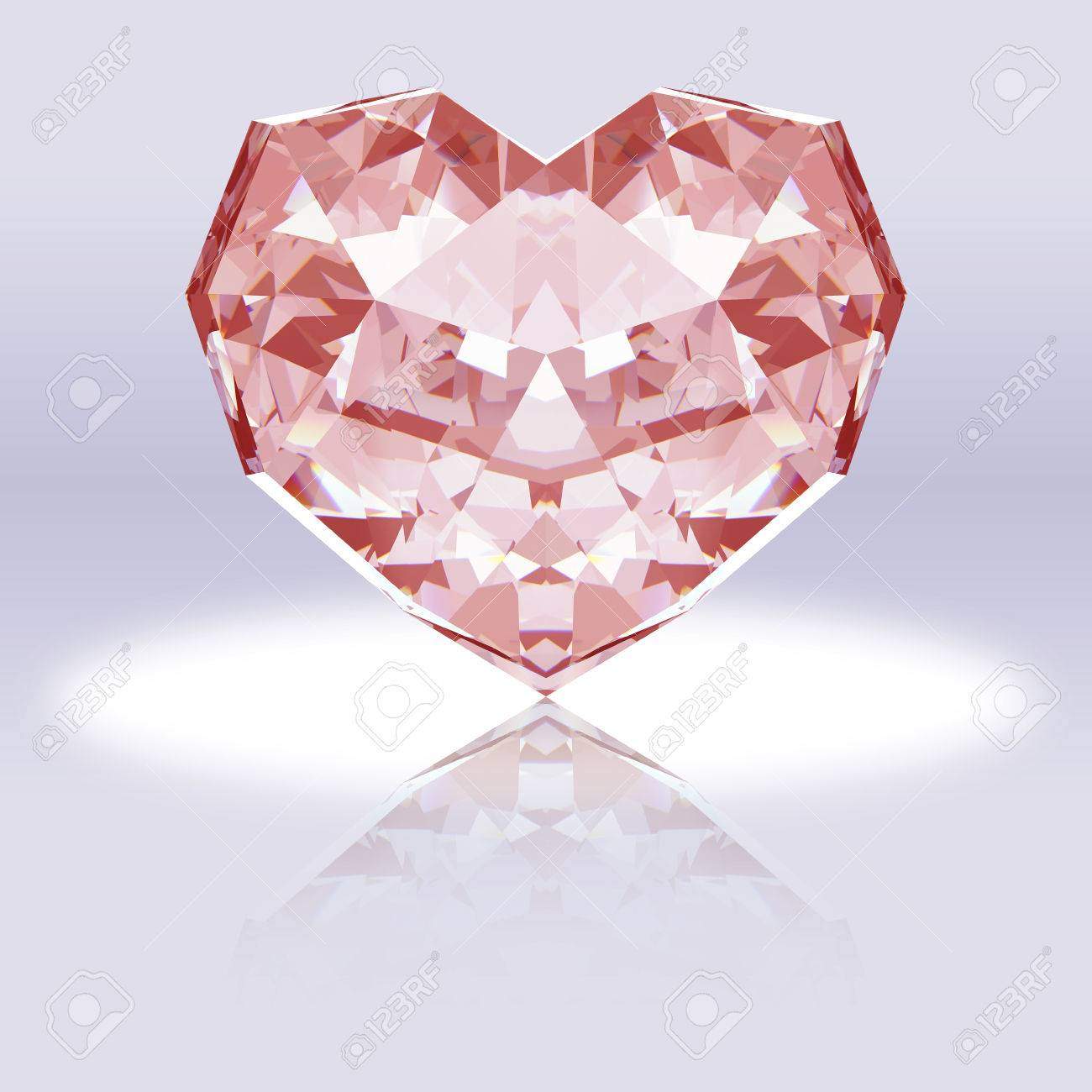 Pink Heart-shaped Diamond With Reflection. Stock Photo, Picture And ...